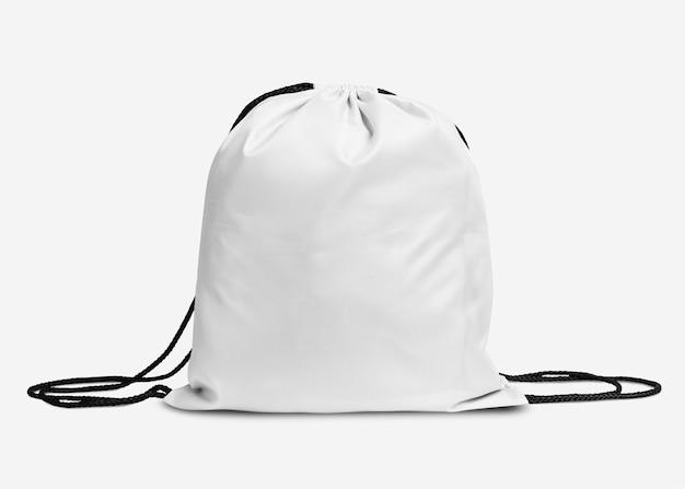 Einfacher weißer kordelzugbeutel mit schwarzem seil