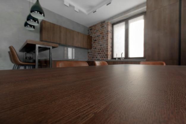 Einfaches innendesign der modernen hellen küche