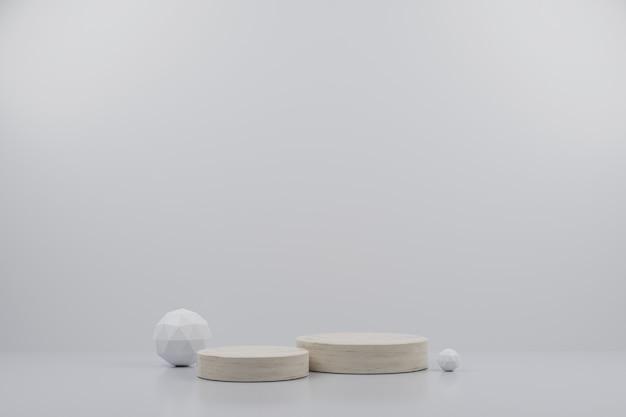 Einfaches marmor-mockup-podium und -kugel mit weißem hintergrund