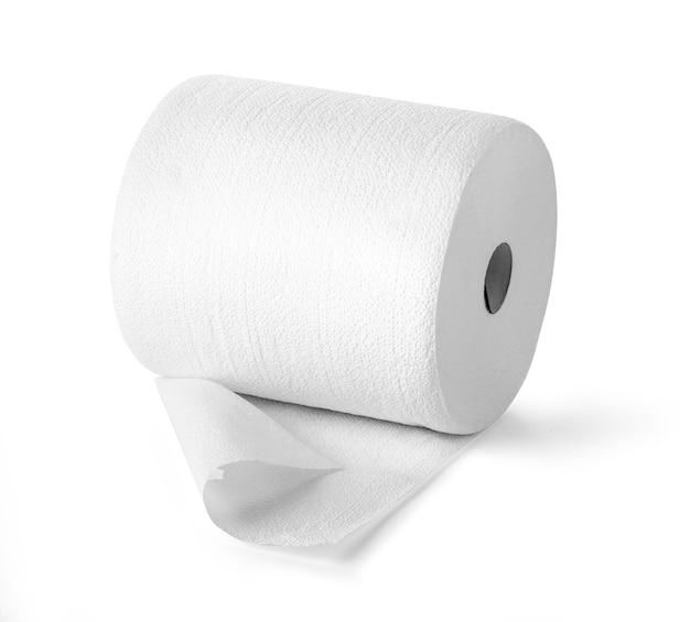 Einfaches toilettenpapier auf weiß