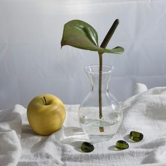Einfaches und schönes stillleben mit spathiphyllum-blume und transparenten steinen