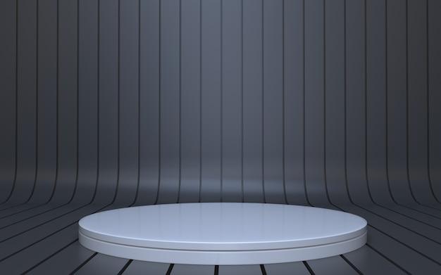Einfaches weißes podium für produktpräsentation mit schwarzem hintergrund