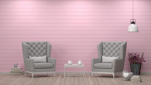 Einfaches wohnzimmer, sessel vor weißer wand innenarchitektur skandinavisches interieur