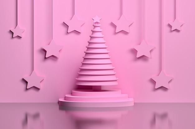 Einfarbiger rosa weihnachtsbaum des konzeptes auf einem sockel verziert mit den ringen und großen rosa sternen, die an der wand hängen