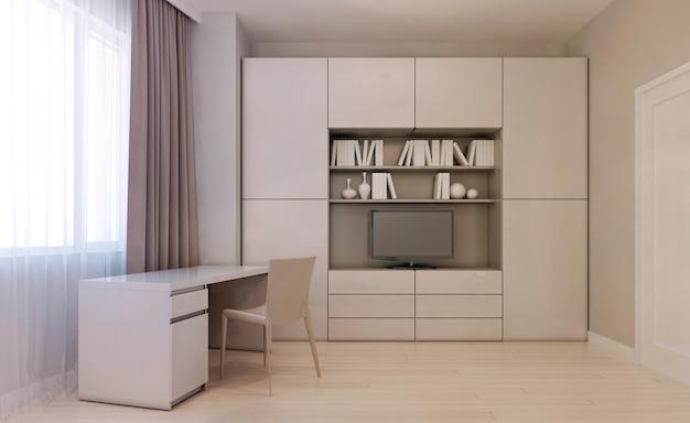 Einfarbiges wohnzimmer mit bücherregal und schreibtisch