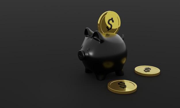 Einfügen einer münze in ein sparschwein-3d-rendering