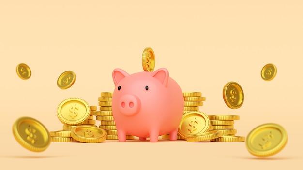 Einfügen einer münze in sparschwein, 3d-rendering
