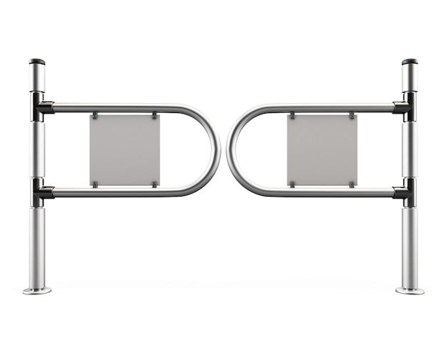 Eingang tourniquet, drehkreuz aus chromrohren auf weiß isoliert. 3d-illustration.
