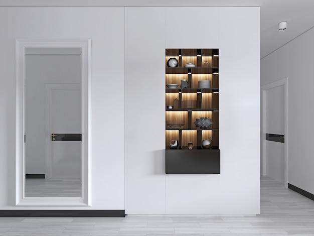 Eingangshalle mit großem spiegel in weißem rahmen mit einbauregalen in schwarz mit dekor. 3d-rendering.