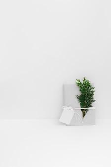 Eingewickeltes geschenk mit zedernzweig und leerem tag gegen weißen hintergrund