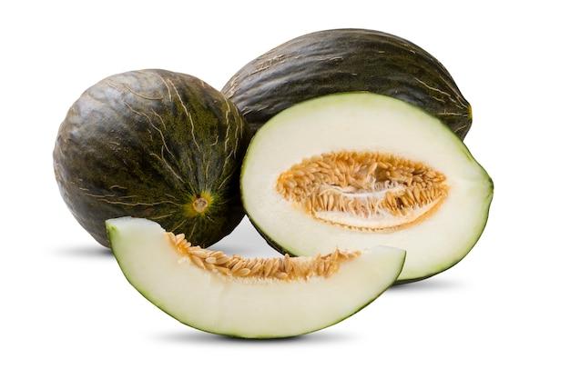 Einige melonen über einem weißen isoliert. frische früchte.