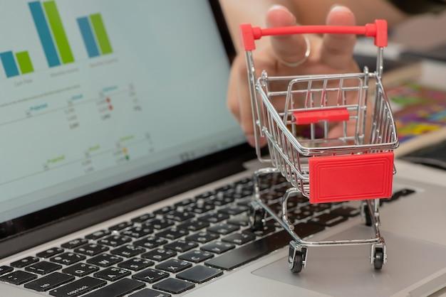 Einkauf auf dem laptop, konzept: geschäft, finanzierung, einsparung, investition
