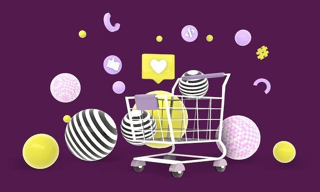 Einkaufen online-hintergrund auf website-illustration, rendering, 3d