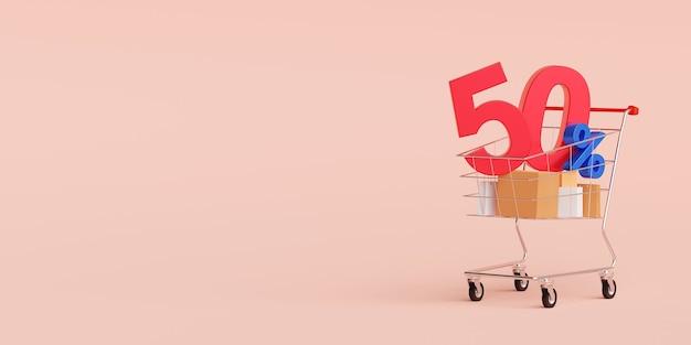 Einkaufsbanner mit sonderangebotsrabatt Premium Fotos