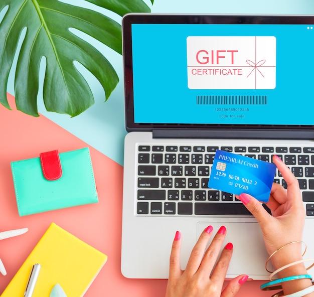 Einkaufskonzept für geschenkgutscheine