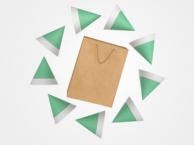 Einkaufstasche aus 3d-papier, umgeben von polygonalen formen