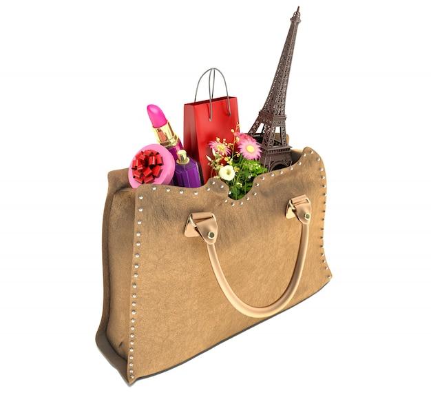 Einkaufstasche und der eiffelturm in handtaschen. konzept des einkaufens