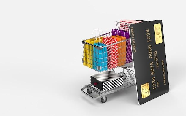 Einkaufstaschen, einkaufswagen und die kreditkarte sind ein digitaler online-shop-internet-markt, den der verbraucher auschecken kann.