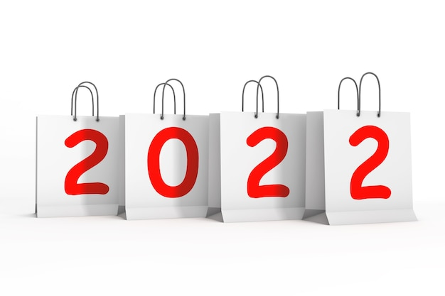 Einkaufstüten mit 2022 neujahrszeichen auf weißem hintergrund. 3d-rendering