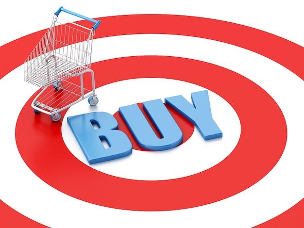 Einkaufswagen 3d auf ziel. e-commerce-konzept