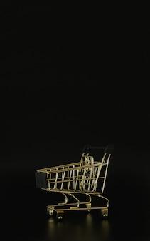 Einkaufswagen auf schwarzem hintergrund mit freiem platz für text black friday sale und rabatt