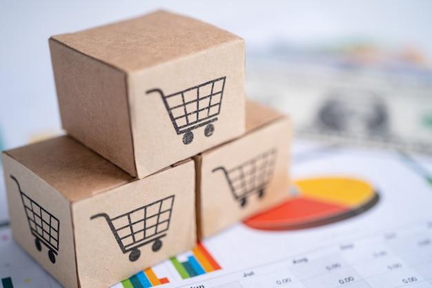 Einkaufswagen-logo auf box mit us-dollar-banknoten bankkonto-investitionen