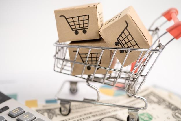 Einkaufswagen-logo auf der box mit diagrammhintergrund bankkonto-investitionen