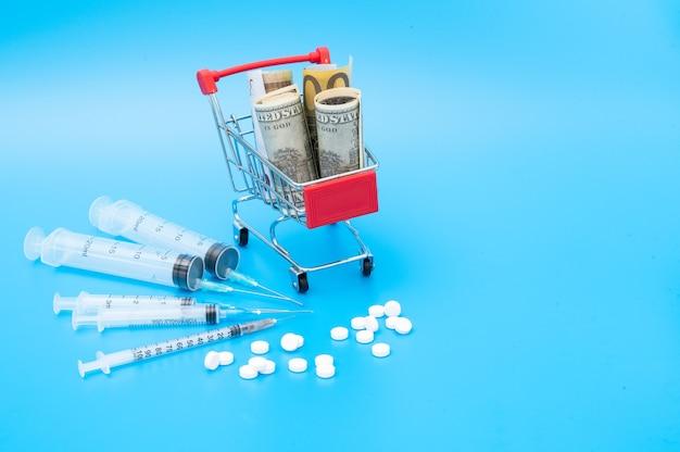 Einkaufswagen mit amerikanischen und europäischen banknoten und medizinischen spritzen