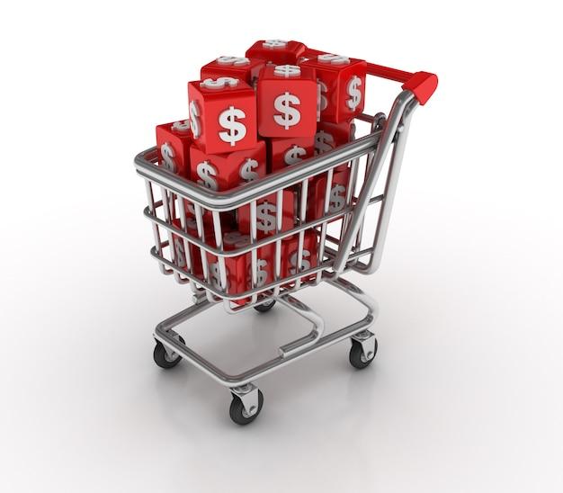 Einkaufswagen mit dollarblöcken
