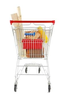 Einkaufswagen mit materialien für die hausrenovierung, auf weiß