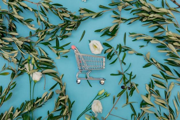 Einkaufswagen mit olivenzweigen auf blauem hintergrund. ansicht von oben