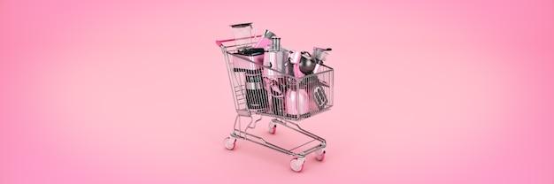 Einkaufswagen mit vielen küchengeräten 3d-rendering