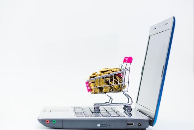 Einkaufswagen- oder supermarktlaufkatze mit laptopnotizbuch