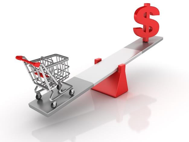 Einkaufswagen und dollarzeichen, die auf einer wippe balancieren
