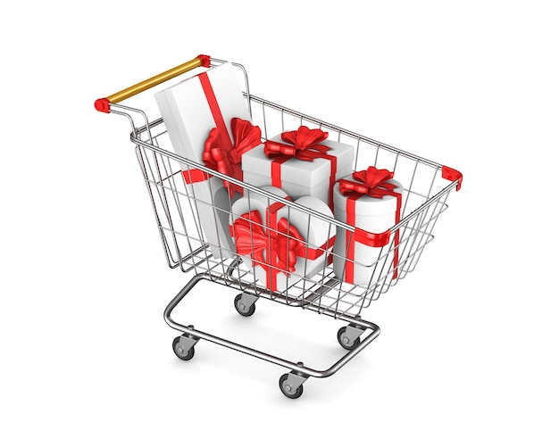 Einkaufswagen und geschenkbox auf weißem raum. isolierte 3d-illustration