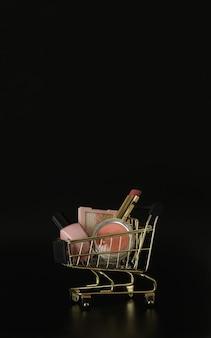 Einkaufswagen voller make-up und kosmetikartikel auf schwarzem hintergrund black friday freier platz