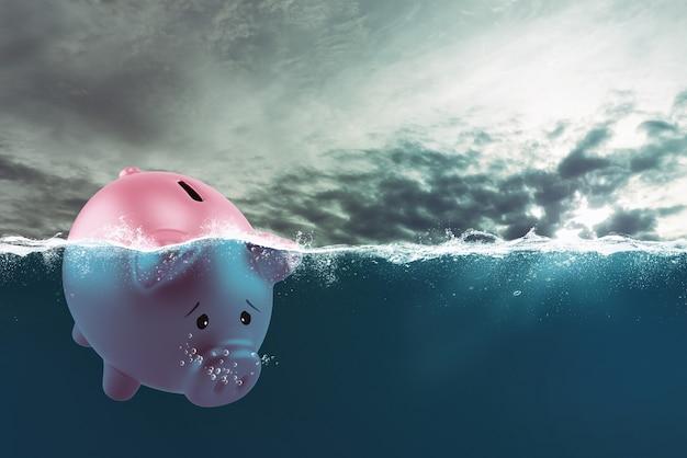 Einsames sparschwein segelt aufgrund der krise in schlechten gewässern