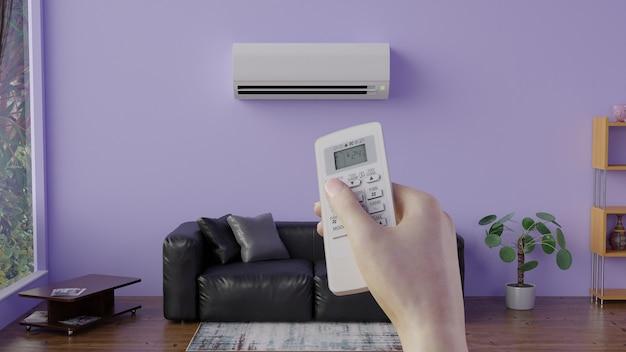 Einschalten der klimaanlage mit der fernbedienung 3d-rendering