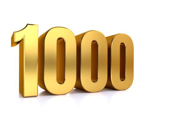 Eintausend, 3d-illustration goldene zahl 1.000 auf weiß und kopierraum auf der rechten seite für text