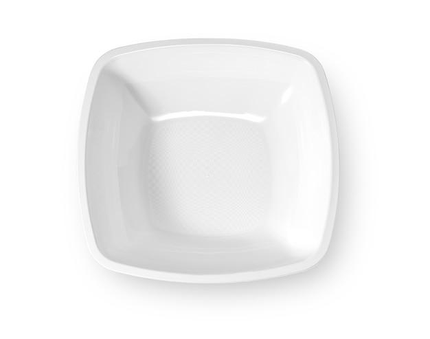 Einweg-pappteller isoliert auf weißem background.with beschneidungspfad