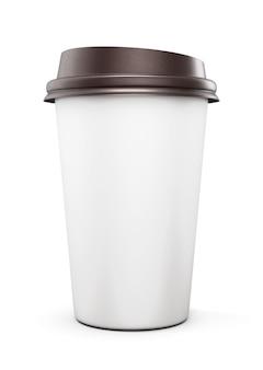 Einweg-plastikbecher mit deckel für kaffee isoliert auf weiß. vorderansicht. 3d-rendering.