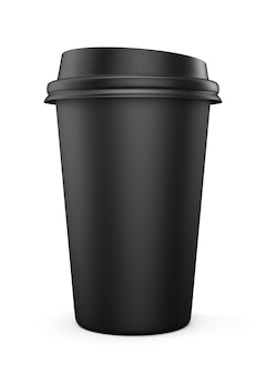 Einwegbecher aus schwarzem kunststoff mit deckel
