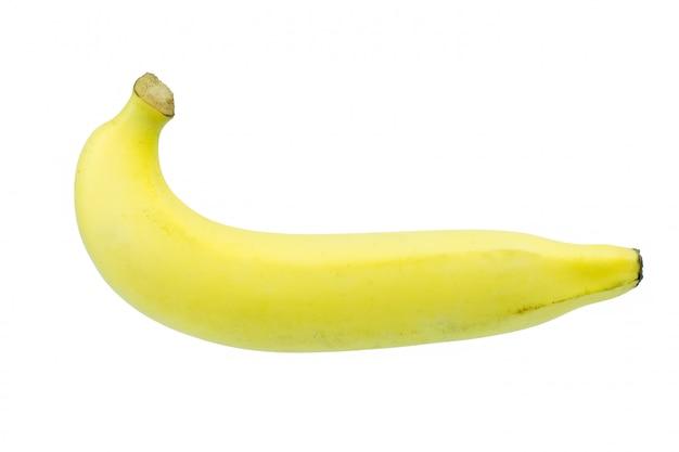 Einzelne banane gegen weißen hintergrund