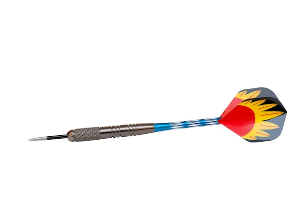 Einzelne mehrfarbige pfeile des darts lokalisiert auf weiß