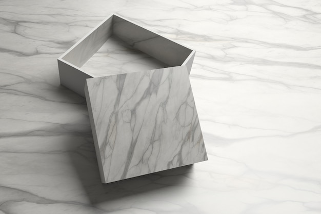 Einzelner geöffneter verpackungskasten mit der marmorbeschaffenheit, die auf dem tisch steht.