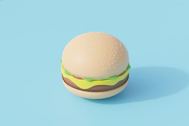 Einzelner isolierter hamburger fast-food-gegenstand. 3d-rendering