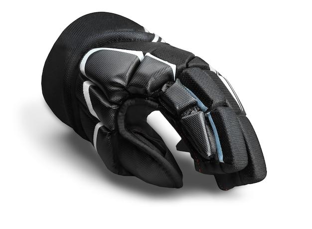 Einzelner schwarzer eishockeyhandschuh, isoliert auf transparentem hintergrund