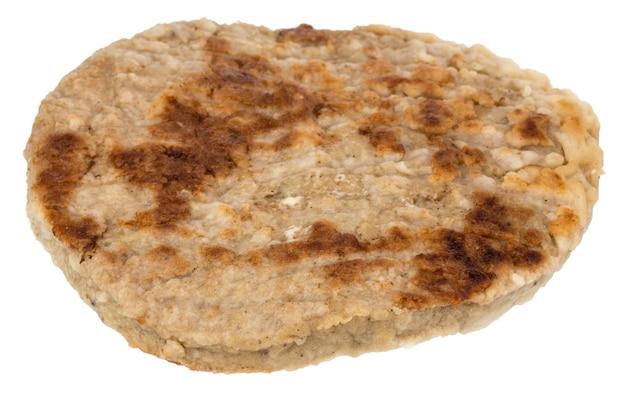 Einzelnes gegrilltes hamburgerpastetchen lokalisiert auf weiß.