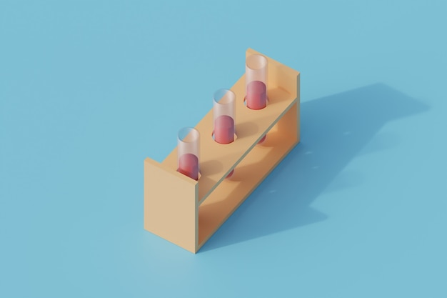 Einzelnes isoliertes objekt der laborröhre. 3d-render-illustration isometrisch