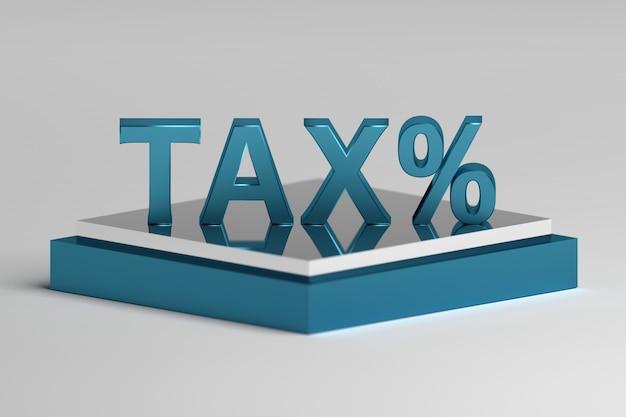 Einzelwortsteuer mit prozentzeichen, das auf einem sockel steht